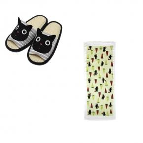 【貓丸家】Tama貓臉室內拖鞋(黑)+Tama與西瓜長毛巾(綠)