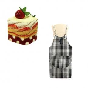 【貓丸家】蛋糕毛巾+領結鄉村風格紋紋裙(黑)