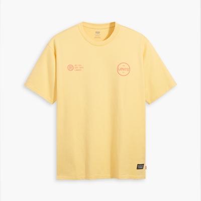 【LEVIS】男款 重磅短袖T恤/寬鬆休閒版型/ 街頭潮流元素/黃