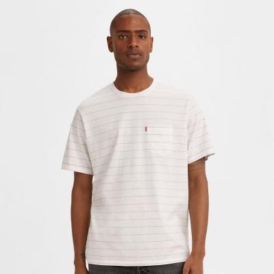 【LEVIS】男款 條紋單口袋短袖T恤 / 寬鬆休閒版型
