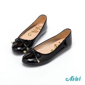 【Avivi】日式甜美蝴蝶結鏡面娃娃鞋 (黑色/可可色)
