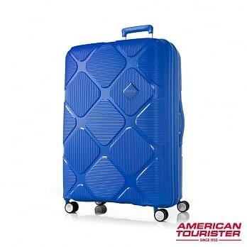 【Samsonite 】 AT美國旅行者 20吋Instagon 防盜拉鍊避震硬殼登機箱(藍)