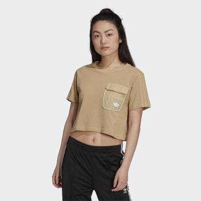 【adidas】ADIDAS 女 CROPPED TEE 短袖上衣 (卡其) - H15829