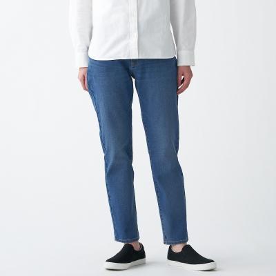 【MUJI 無印良品】女有機棉混縱橫彈性丹寧boy fit九分褲