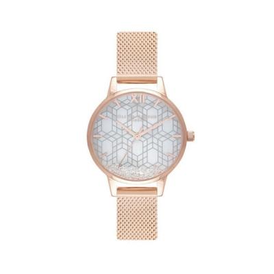 【PAIDEL】 OLIVIA BURTON 玫金殼雪晶面滾珠玫瑰金米蘭編織腕錶