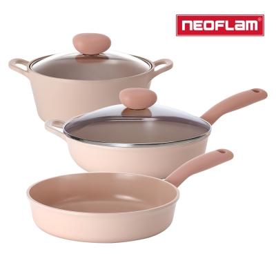 【NEOFLAM】蜜桃雪酪3件組 Sherbet系列 (30cm炒鍋+26平+22湯)