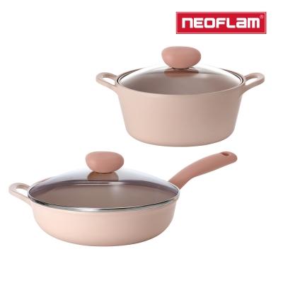 【NEOFLAM】蜜桃雪酪2件組 Sherbet系列 (30cm炒鍋+22湯)