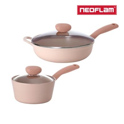 【NEOFLAM】蜜桃雪酪2件組 Sherbet系列 (30cm炒鍋+18湯)