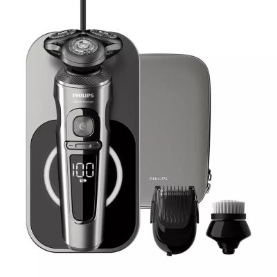 【PHILIPS 飛利浦】S9000Prestige頂級乾濕兩用電鬚刀(附充電盤、修容刷、鬢角刀)SP9860/14