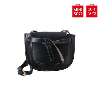 【MINISO 名創優品】時尚馬鞍斜挎包(黑色)
