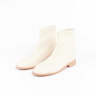 【Avivi】酷甜主張車線方頭低跟彈力襪靴